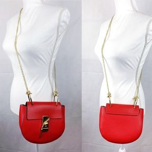 Red Pebbled Leather Gold Tone Chain Crossbody Bag